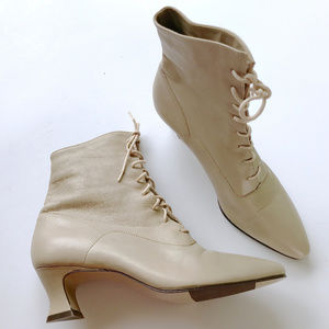 NINE WEST Vintage Leather Lace-up Ankle Boots